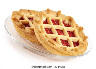 Tartlet with cherry jam-sweet entertainment to tea