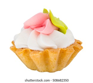 Tartlet with whipped cream. Homemade cake. Isolated on white background.