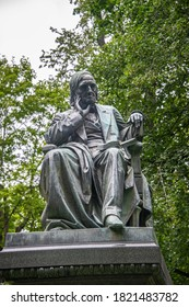 Tartu, Estonia. AUG 12, 2020:  Monument to Karl Ernst von Baer, a scientist and medical man, the founding father of embryology. The monument was erected in 1886.