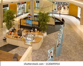 TARTU, ESTONIA - JUNE 2, 2018:  Interior of a large department store with small cafeteria