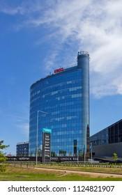 TARTU, ESTONIA - JUNE 2, 2018:  Modern glass buildings in the center of the city