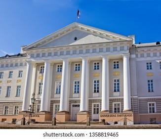 Tartu, Estonia - March 30, 2019: Main building of Tartu University