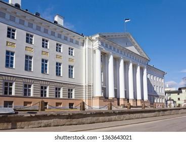 Tartu, Estonia - March 30, 2019: Cityscape with main building of Tartu University