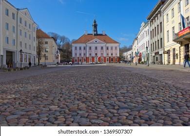 Tartu, Estonia - March 30, 2019: Tartu City Hall  seen across square