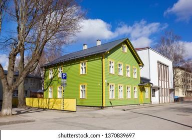 Tartu, Estonia - March 30, 2019: Cityscape with wooden house