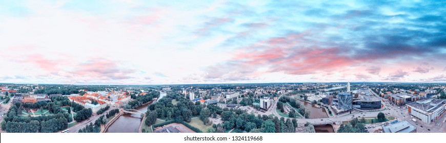Tartu, Estonia. Panoramic aerial view at summer sunset. - Shutterstock ID 1324119668
