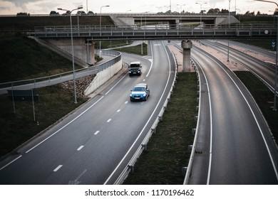 TARTU, ESTONIA - SEPTEMBER 1, 2018: A view to a multi lane road.