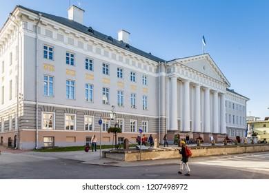 Tartu, Estonia - September 27, 2018: University building of Tartu Ulikool in historical  centre of  Tartu in Estonia. Largest and oldest university of Estonia.