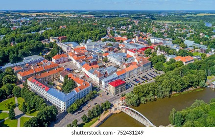 Tartu (second largest city of Estonia) Old Town from above in sunny summer day, 2017
