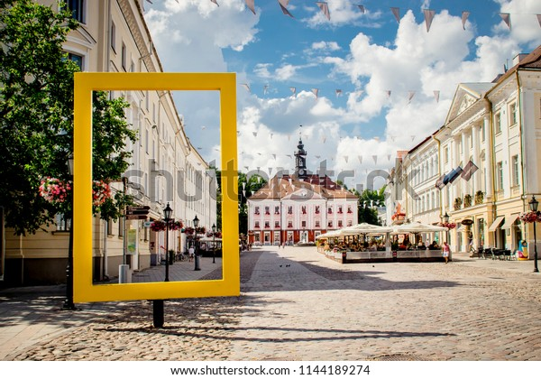 8770a3555dc Tartu, Tartumaa, Estonia: 24.07.2018: View through National Geographic  Yellow Window