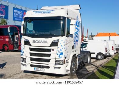Tartu-September 29: Scania R410 CNG at the Tartu Motoshow on September 29, 2018 in Tartu, Estonia