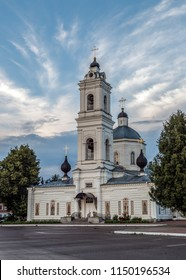 Tarusa, Kaluga region, Russia. Cathedral of St. Peter and Paul on the main square of the city. Holidays in Russia.