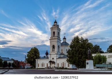 Tarusa, Kaluga region, Russia. Main square of the city with Cathedral of St. Peter and Paul and monument to Lenin. Holidays in Russia.