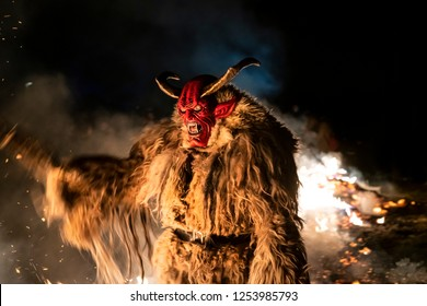 Tarvisio, Italy. December 5, 2018. The Krampus masks in an exhibition in the night in Tarvisio, Italy