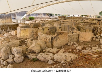 Tarxien, Malta. The ruins of the apses of the ancient sanctuary (UNESCO list), 3250 - 2800 BC