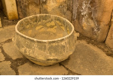 Tarxien, Malta. Stone bowl made of solid stone in the Neolithic temple (UNESCO list), 3250 - 2800 BC