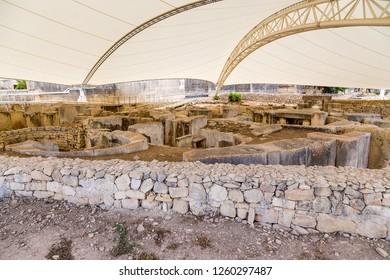 Tarxien, Malta. Top view of the prehistoric temple (UNESCO World Heritage List), 3250 - 2800 BC