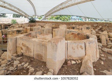 Tarxien temple complex - Megalithic Temple. Malta. 8 March, 2018