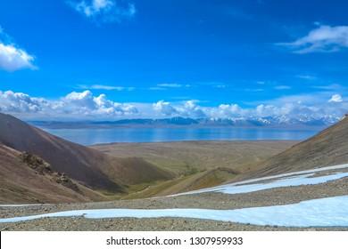 Tash Rabat Caravanserai Landscape with Snow Capped At Bashy Too Mountain Range Chatyr Kul Lake View Point