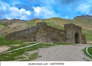 Tash Rabat Caravanserai Settlement Ruins for Ancient Traders Travellers and Caravans with Landscape Closeup