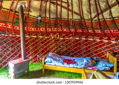 Tash Rabat Caravanserai Traditional Kyrgyz Yurt Interior with Stove and Sleeping Bed