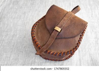 Tashka - flat leather bag for the military. antique, Slavic pattern.