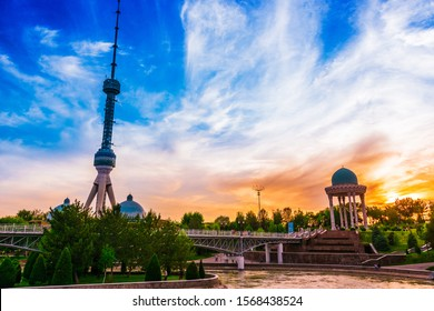 Tashkent Television Tower seen from the park at the Memorial to the Victims of Repression in Tashkent, Uzbekistan