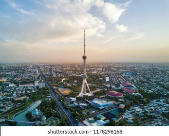 Tashkent TV Tower Aerial Shot During Sunset in Uzbekistan taken in 2018