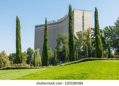 TASHKENT, UZBEKISTAN - AUGUST 22, 2018: Building of Uzbekistan Hotel, the first five star hotel in the city. Tashkent is the capital and largest city of Uzbekistan.