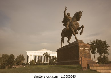 TASHKENT, UZBEKISTAN - AUGUST 31, 2016:  a statue of the 14th century Uzbek leader Tamerlane stands on Amir Timur maydoni, a square in the center of Tashkent, Uzbekistan.