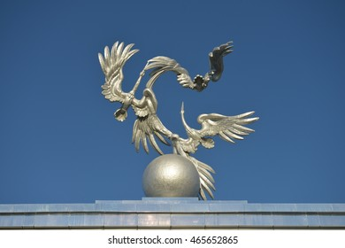 Tashkent, Uzbekistan - July 02, 2014: Sculpture of Storks as a symbol of peace in front of the main square (Mustakillik) to host celebrations and military parades in the days public holidays.