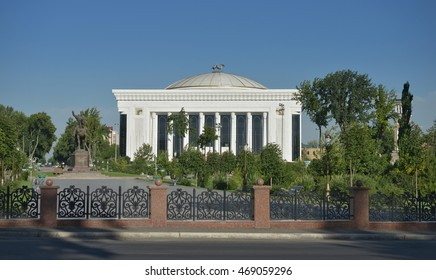 "Tashkent, Uzbekistan - July 02 2014: the Palace of international forums ""Uzbekistan"" was designed by architects Ippolito Fleitz Group. Built in the heart of Tashkent, it is main building of country"