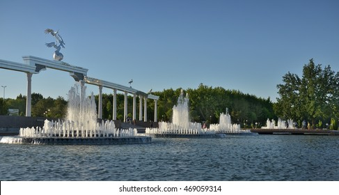 Tashkent, Uzbekistan - July 02, 2014: The large fountain in front of the main square in Tashkent. Square (Mustaqillik Maydoni) is the Central square of the capital.