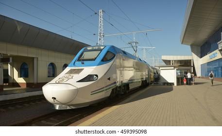 "Tashkent, Uzbekistan - July 03, 2014: Afrasiab is a high-speed train of the Spanish company ""Patentes Talgo S. L."". Operated on the line Tashkent - Samarkand - Karshi."
