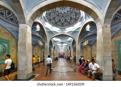 Tashkent, Uzbekistan - July 8, 2019: Alisher Navoi Metro Station in Central Tashkent, Uzbekistan.
