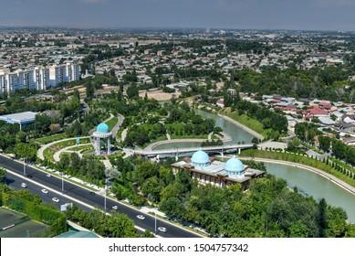 Tashkent, Uzbekistan - July 9, 2019: Aerial view of the skyline of Tashkent, Uzbekistan during the day.