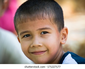 TASHKENT, UZBEKISTAN - JUNE 12, 2011: Unidentified  Uzbek boy in Uzbekistan, Jun 12, 2011. 93% of Uzbek people consider that life in the country goes well