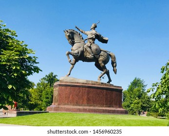 Tashkent, Uzbekistan - June 16, 2019: Monument to Amir Timur, 14th Century Turko-Mongol military leader who conquered most of the Muslim world, central Asia, and parts of India
