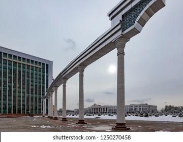 TASHKENT, UZBEKISTAN - MARCH 20, 2012: Monument near parliament building in Tashkent, Uzbekistan.