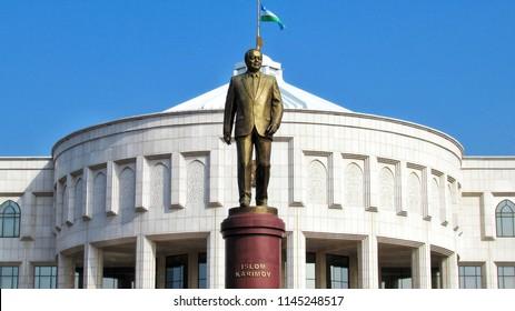 TASHKENT, UZBEKISTAN, MARCH 25, 2018: monument to the first President of Uzbekistan Islam Karimov