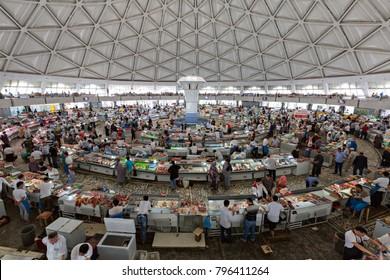 TASHKENT, UZBEKISTAN - MAY 18, 2017: Interior of Chorsu Bazaar, in Tashkent, Uzbekistan.
