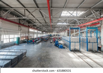 Tashkent, Uzbekistan - May 23, 2014: factory for the production of aluminum profiles. Panorama of the interior of the factory