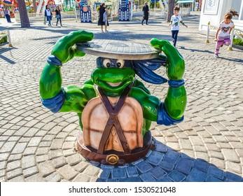 Tashkent, Uzbekistan, September 2019, Teenage mutant ninja turtles figures Leonardo in Culture and Leisure Park Ashgabat  Street art