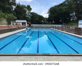 Tasikmalaya, 28-10-2020: A clean swimming pool is empty of swimmers due to the pandemic