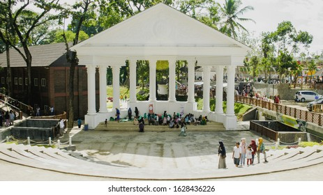 Tasikmalaya, West Java / ID - December 24 2017: The visitors are resting in the hall of the coral tourist attraction dress on holiday.