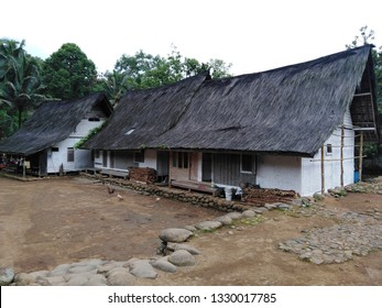 Tasikmalaya, West Java, Indonesia - February 22 2019 : The traditional village Kampung Naga. The villagers maintain their mix of beliefs in islam and their ancestors and old house or traditional house
