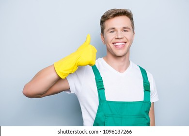 The task is complete! Ideal purity beauty! People person occupation concept. Close up portrait of cheerful excited cute confident enjoying servant making finger up symbol isolated on gray background