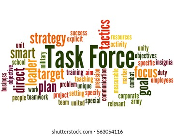 Task Force, word cloud concept on white background.