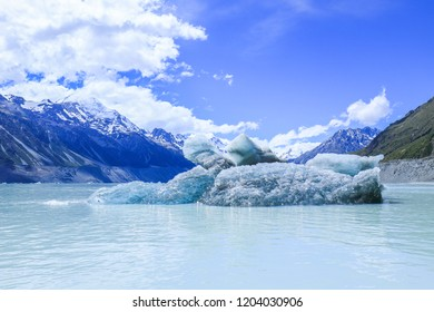 Tasman Glacier Lake with giant floating icebergs, Aoraki Mount Cook National Park New Zealand.