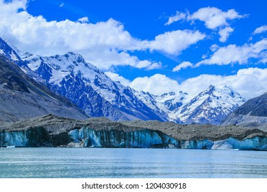 Tasman Glacier Lake with giant floating icebergs, Aoraki Mount Cook National Park New Zealand.